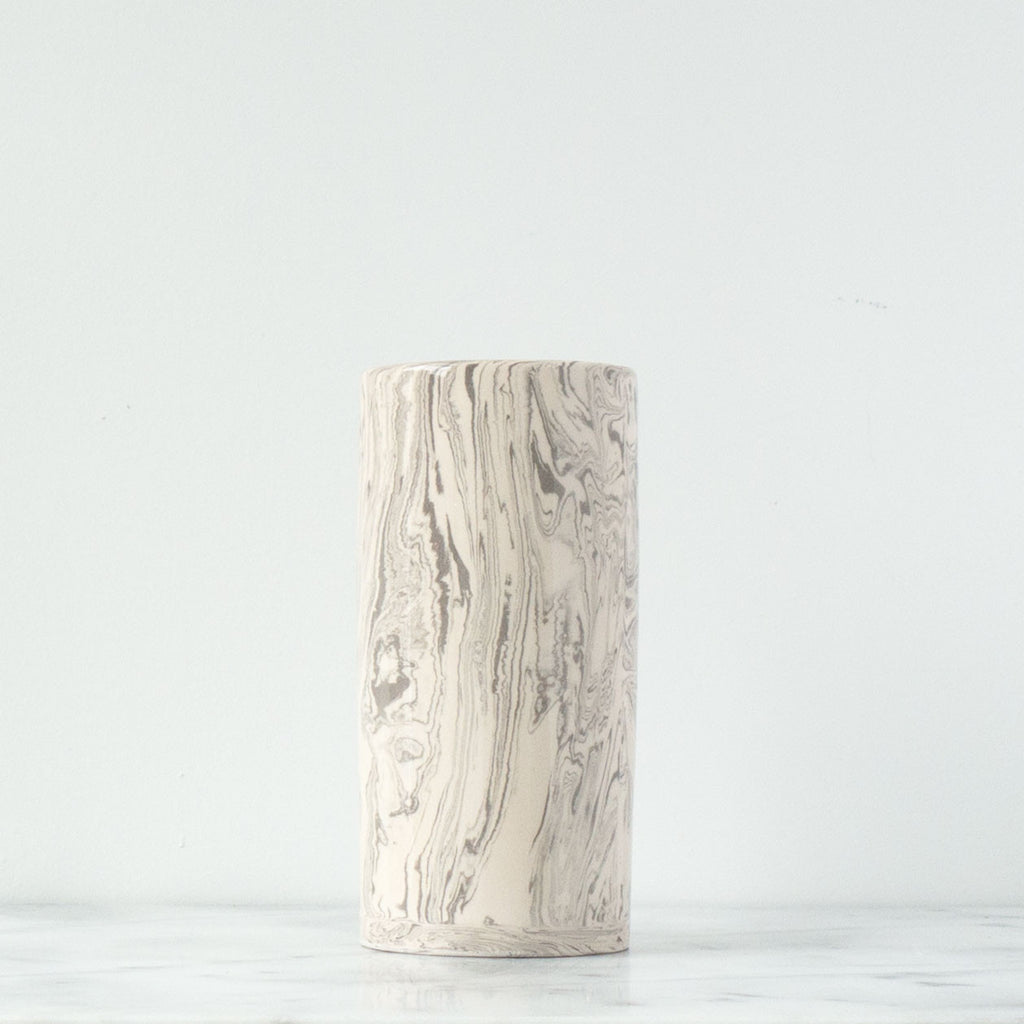 Stone Small Ebru Light Marble Ceramic Cylinder Vase - Simple Life Istanbul   - 1