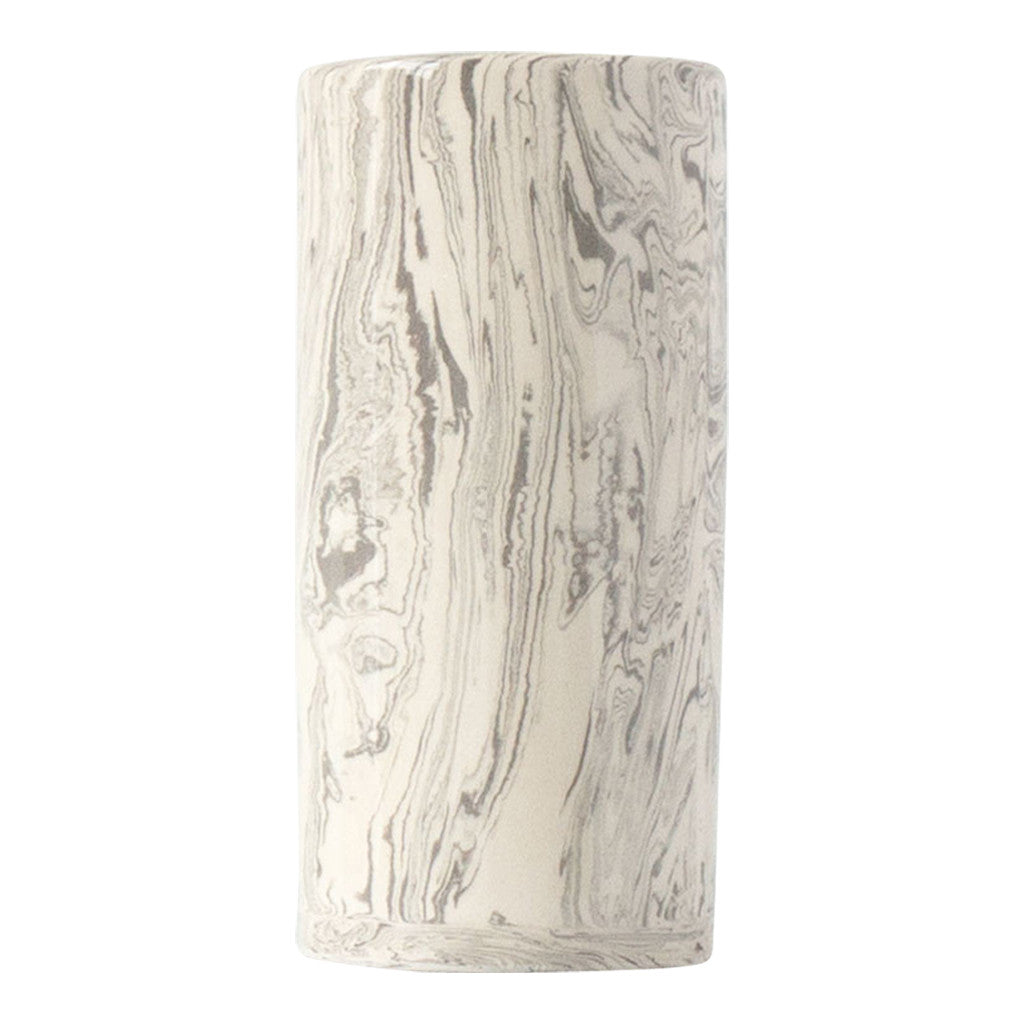 Stone Small Ebru Light Marble Ceramic Cylinder Vase - Simple Life Istanbul   - 2