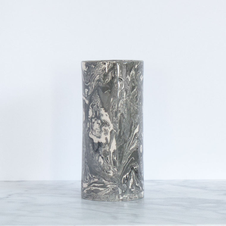 Grey Small Ebru Marble Ceramic Cylinder Vase - Simple Life Istanbul