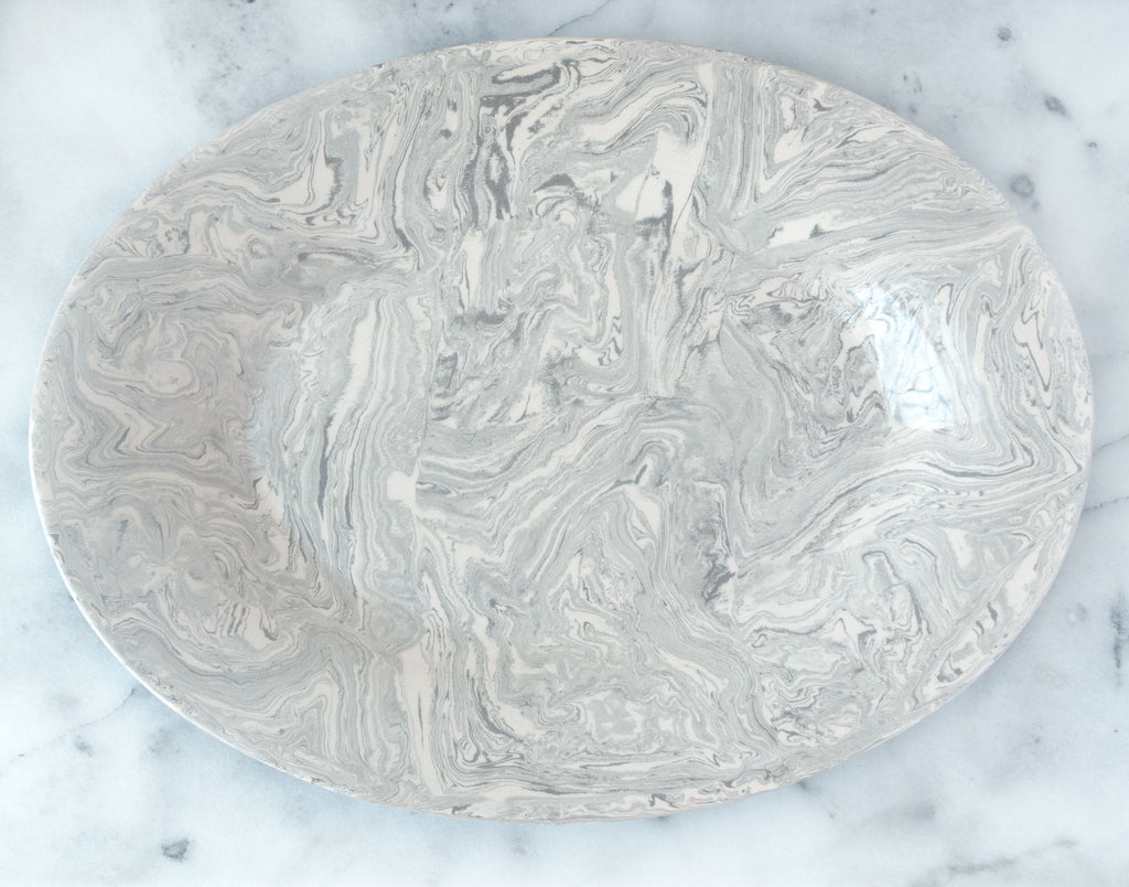 Stone Ebru Light Marble Ceramic Oval Platter - Simple Life Istanbul