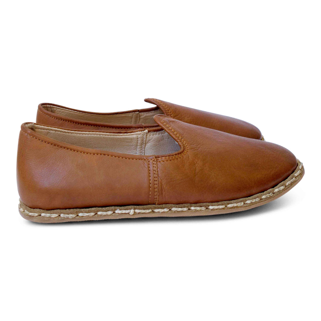 brown turkish leather yemeni slip-on shoes