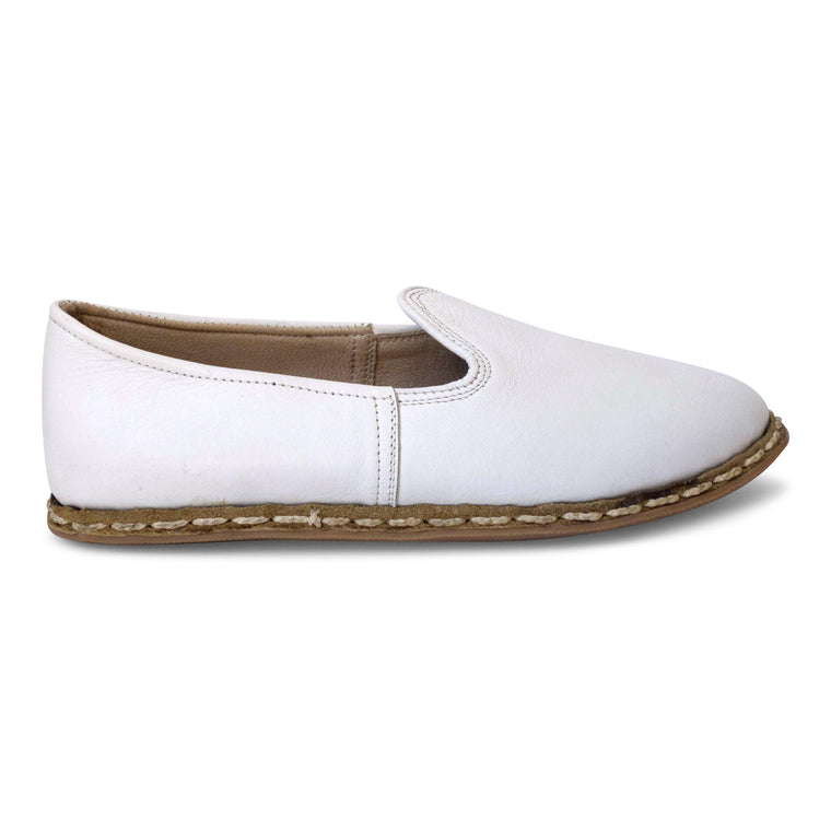 white turkish leather yemeni slip-on shoes