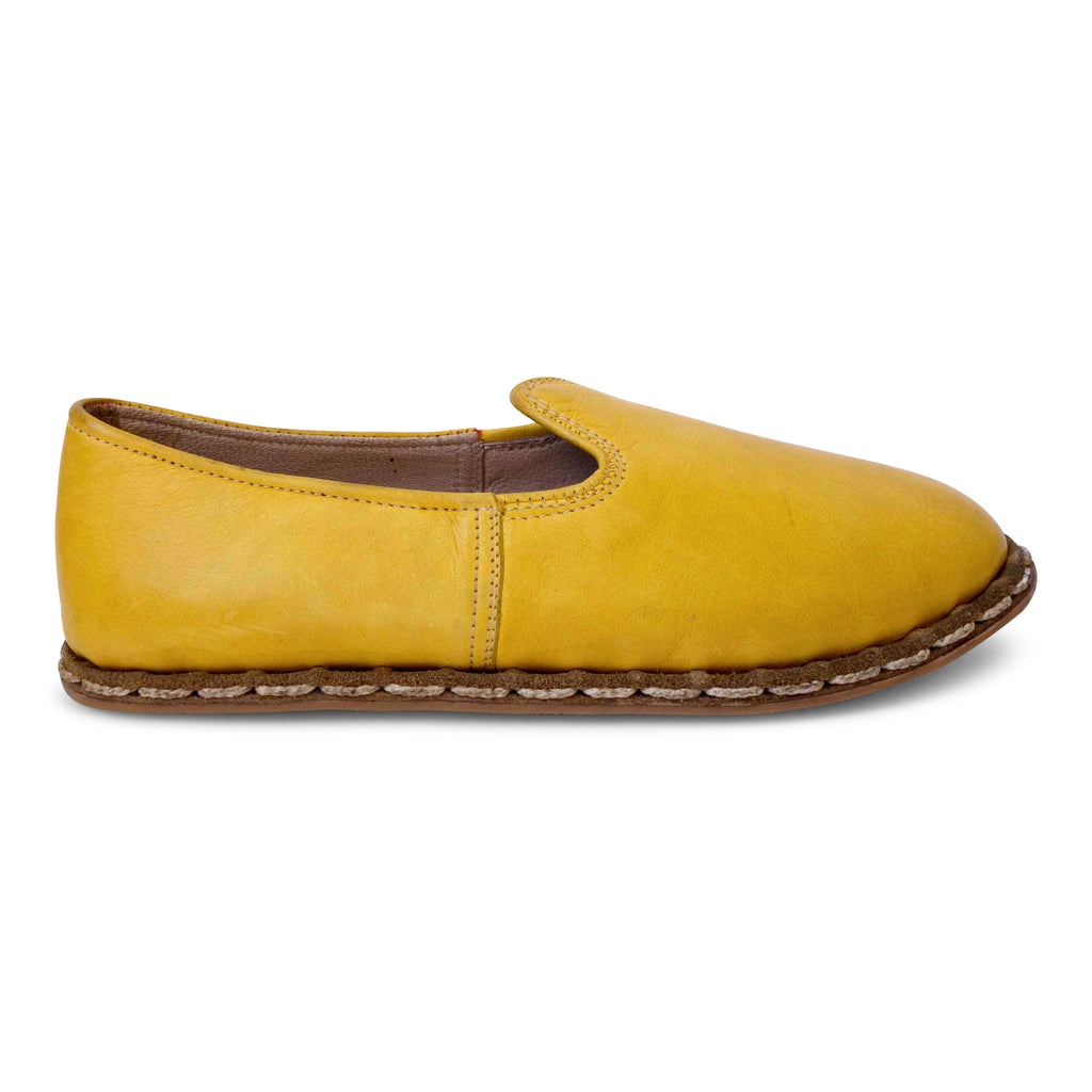 yellow turkish leather yemeni slip-on shoes