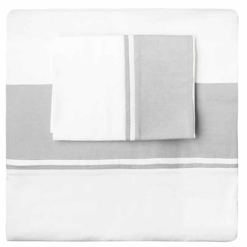 Grey Linen Border Duvet Set - Simple Life Istanbul   - 1