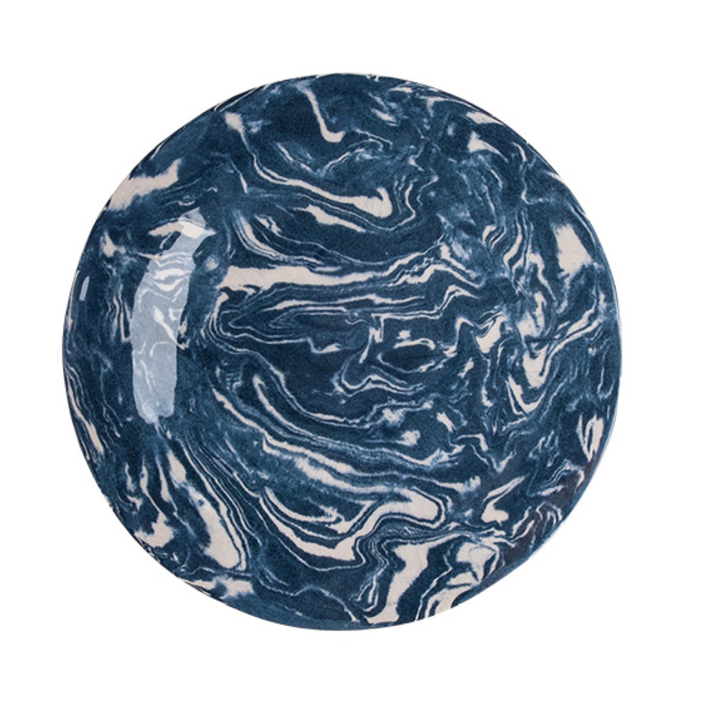 Cobalt Ebru Marble Ceramic Charger Plate - Simple Life Istanbul   - 1