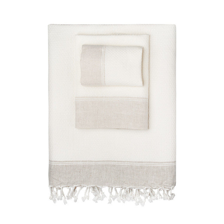 Linen-Blend Border Turkish Peshtemal Towel - Simple Life Istanbul   - 1