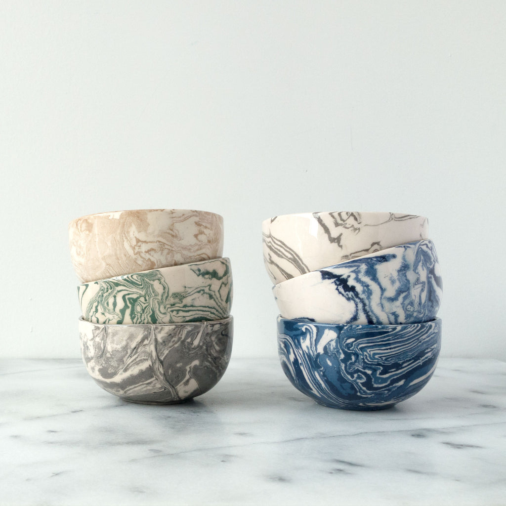 Cobalt Ebru Marble Ceramic Mini Bowl - Simple Life Istanbul   - 2