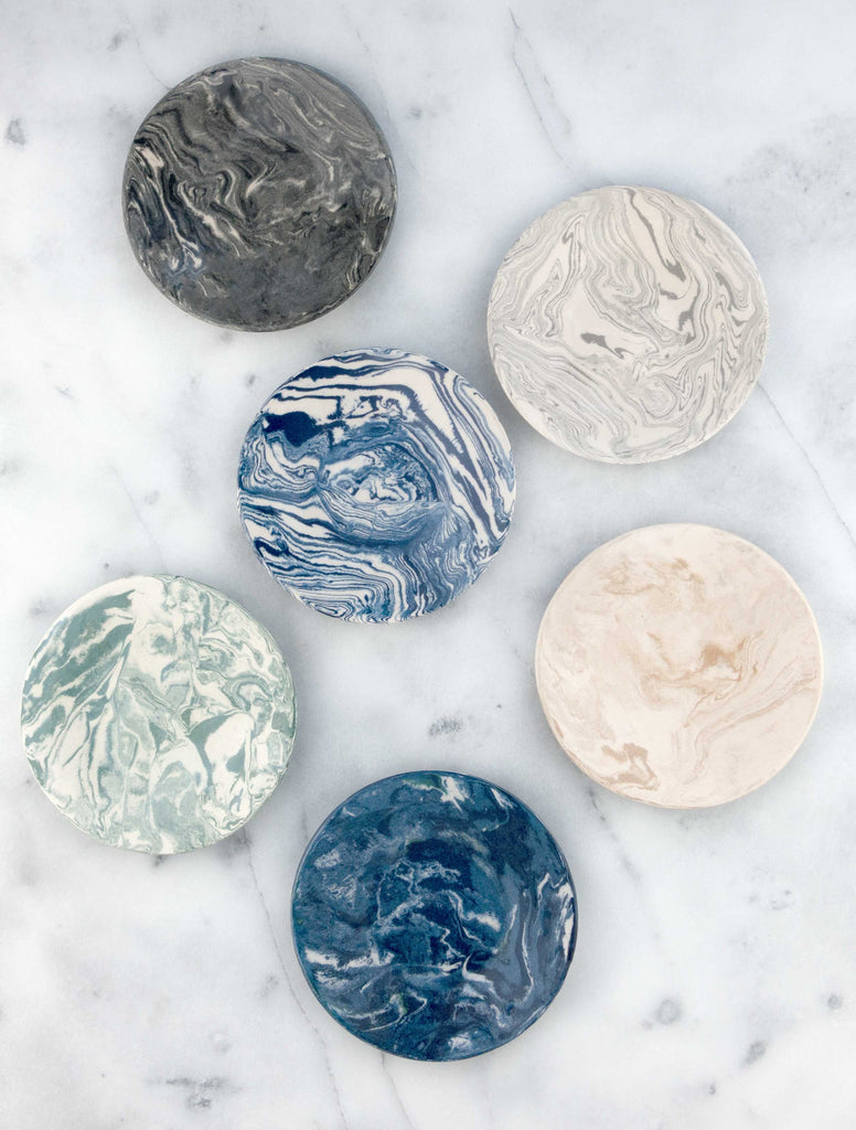 Blue Ebru Light Marble Ceramic Party Plate - Simple Life Istanbul   - 3