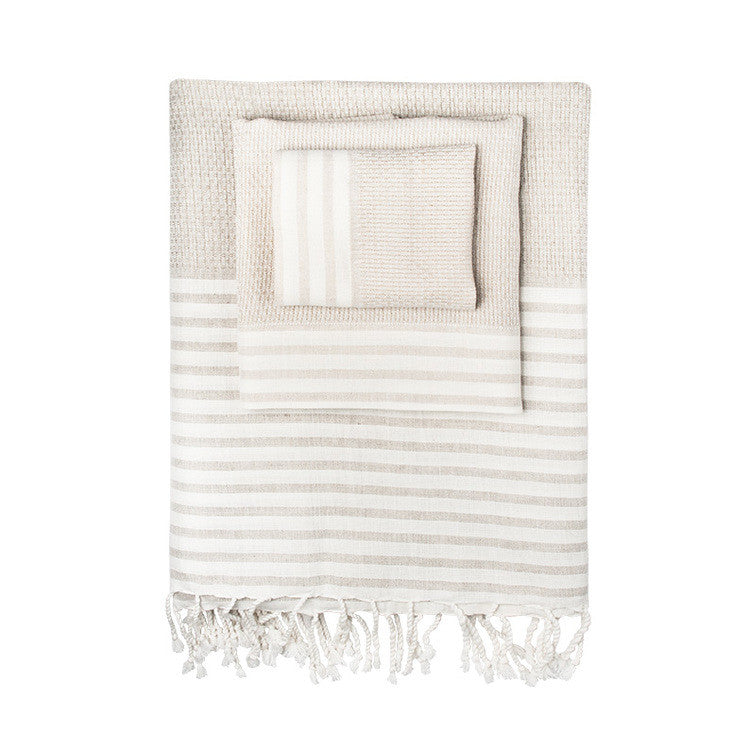Linen-Blend Honeycomb Stripe Turkish Peshtemal Towel - Simple Life Istanbul   - 1