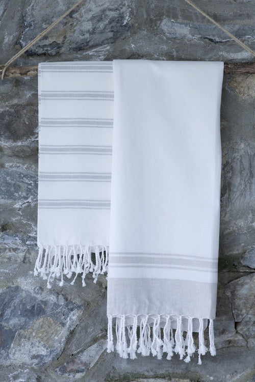 Linen-Blend Border Turkish Peshtemal Towel - Simple Life Istanbul   - 3