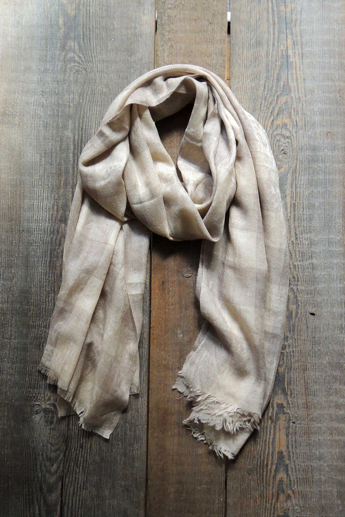 Linen/Taupe Plaid Pashmina Shawl - Simple Life Istanbul   - 1