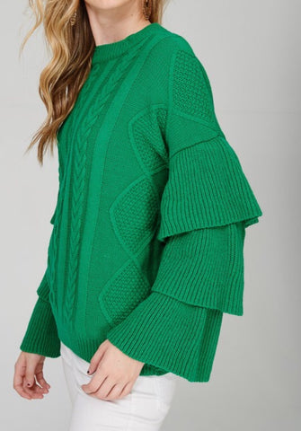 claudia cable knit bell sleeve sweater