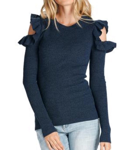 Annabelle cold shoulder ruffle sweater