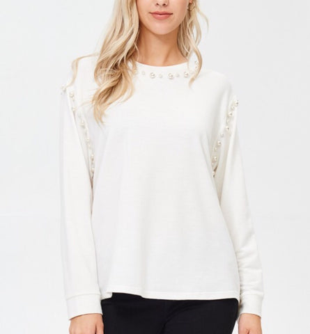 aria sweatshirt with pearl detail