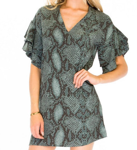 ashley snakeskin shift dress
