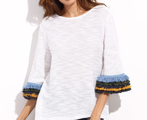 pia fringe sleeve top