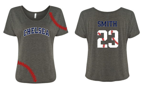 Ladies Slouchy Baseball Tee - Chelsea