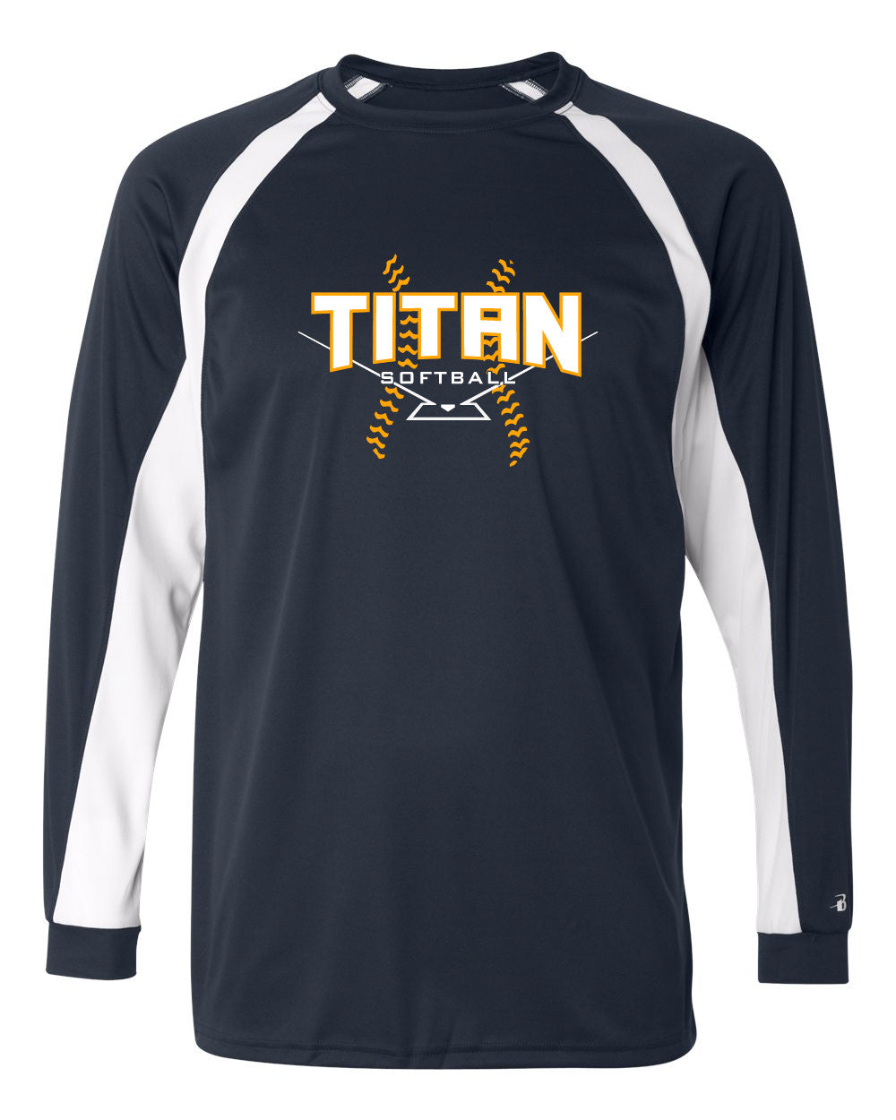 Adult Titan Softball B-core  LS Hook Shirt - Navy/White