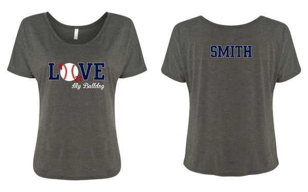 Ladies Slouchy Baseball Tee - Love Baseball
