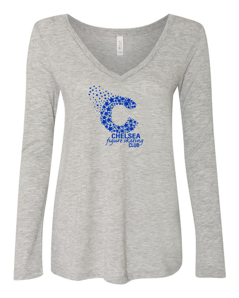 Ladies Bella Canvas Flowy Long Sleeve Tee - Grey
