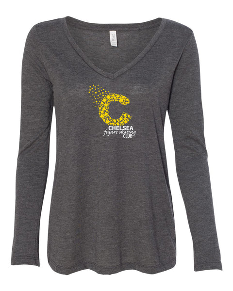 Copy of Ladies Bella Canvas Flowy Long Sleeve Tee - Dark Grey