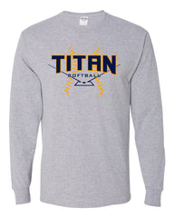 Adult Titan Softball LS T-shirt - Grey