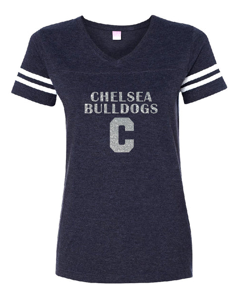 Ladies LAT Bulldogs Vintage T-shirt - Glitter