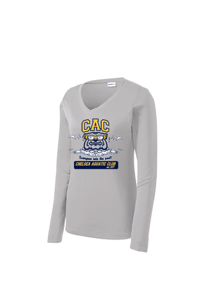Ladies CAC Winter Season Long Sleeve Performance Shirt - Silver