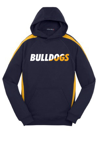 Youth Chelsea Bulldogs Striped Sport-tek Hoodie - Gold Accent