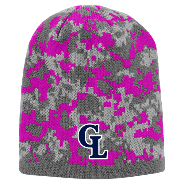 Grass Lake Warriors Digital Camo Beanie - Pink