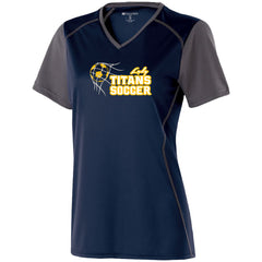 Ladies Lady Titans Soccer Piston Performance SS Shirt - Navy/Carbon