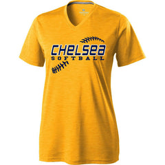 Ladies Chelsea Softball Electrify Performance V-neck (Gold)