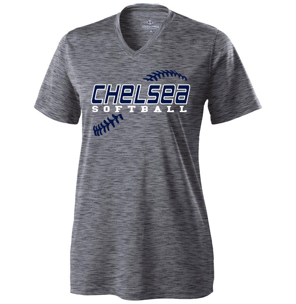 Ladies Chelsea Softball Electrify Performance V-neck (Heather Grey)