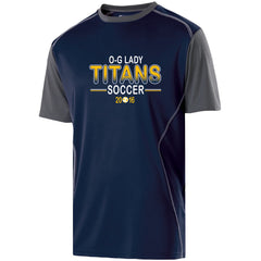 Youth Lady Titans Soccer Piston Performance SS Shirt - Navy/Carbon