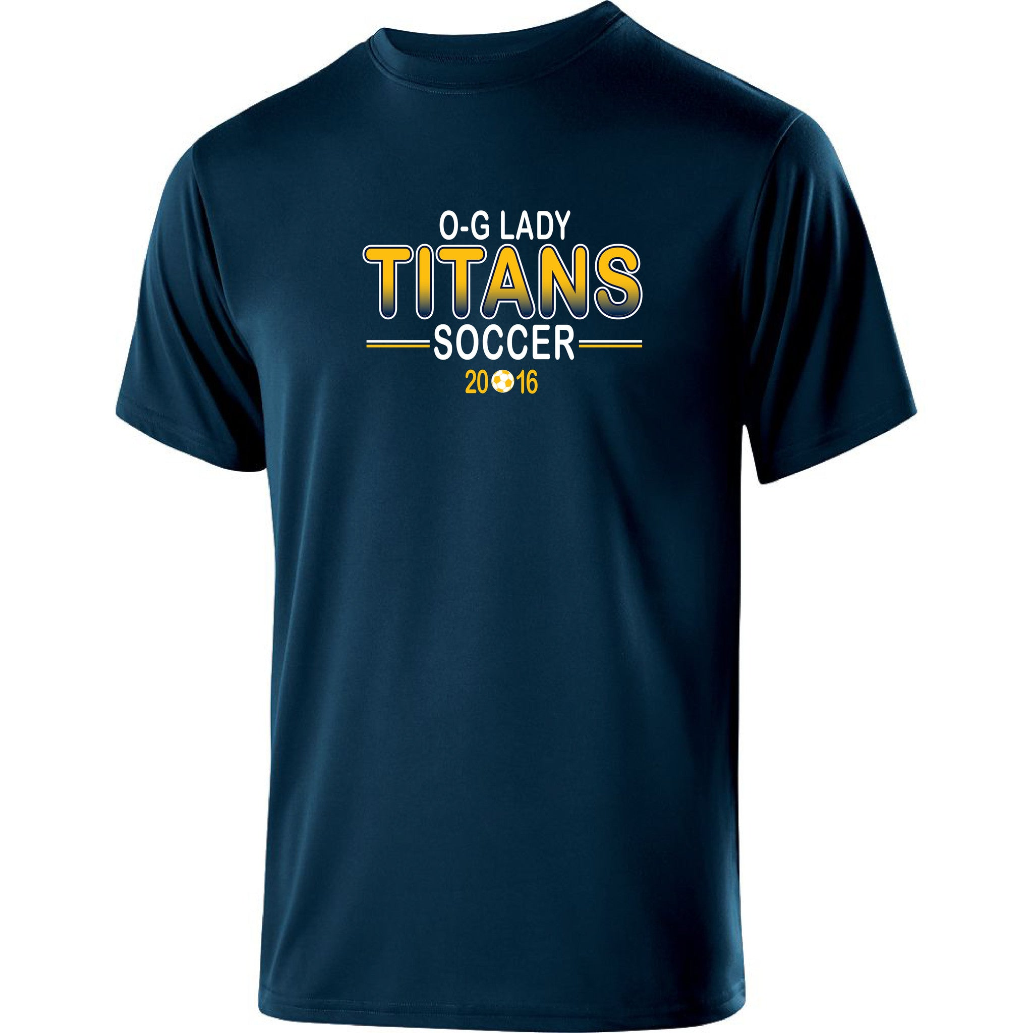 Adult Lady Titans Soccer Guage Performance SS Shirt - Navy