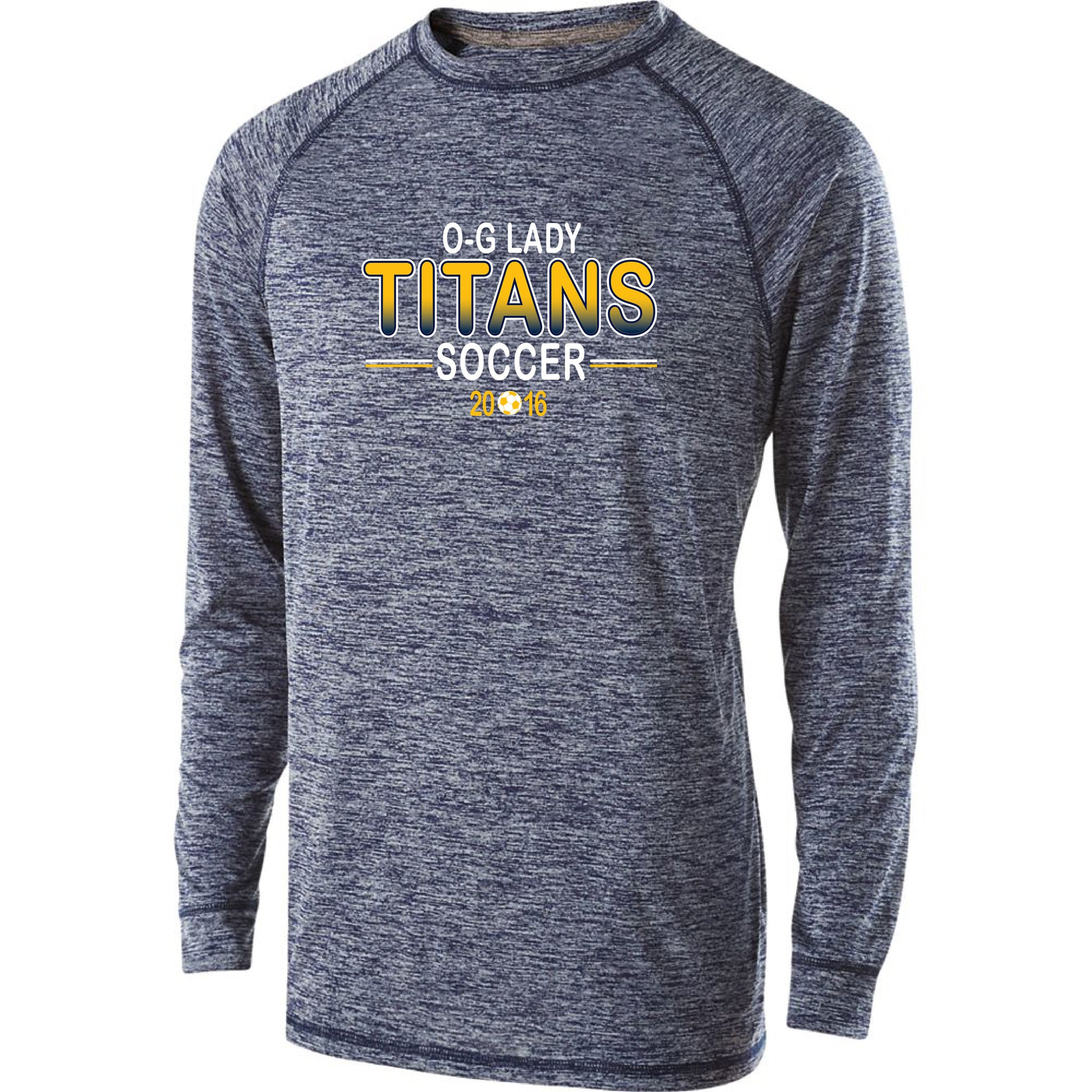 Youth Lady Titans Soccer Electrify Performance LS Shirt - Navy