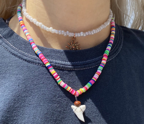 Multi colored shark tooth necklace