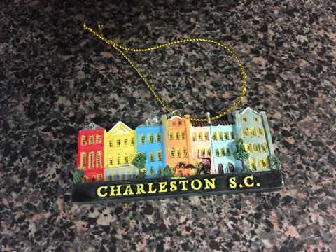 Charleston Rainbow Row Christmas Ornament
