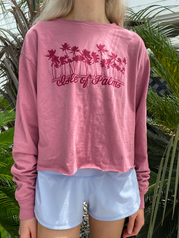 Long Sleeve Pink Palm T-Shirt