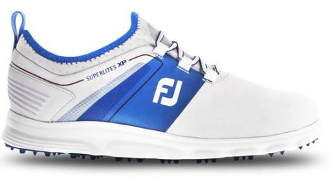 FootJoy 2019 Superlites XP Spikeless Golf Shoes - White/Blue 58063