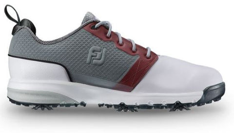 Foot Joy Contour Fit Golf Shoes - White/Grey/Crimson 54095