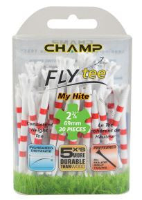 "Zarma FLYtee™ MyHite™ - 2.75"" White/Red Stripe 30 pack"