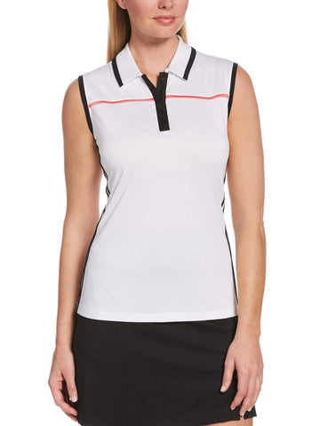 Callaway Sleeveless Color Block Polo CGKSA046 White