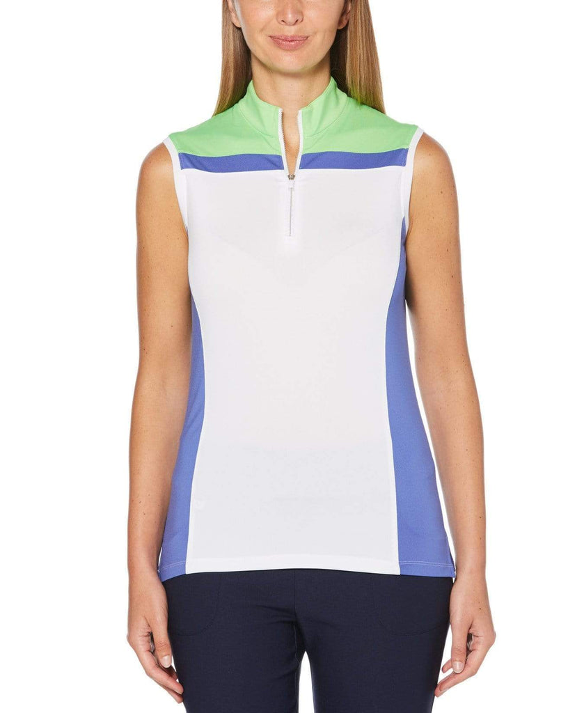 Callaway Sleeveless Color Block Zip Top CGKS9013 Amparo Blue