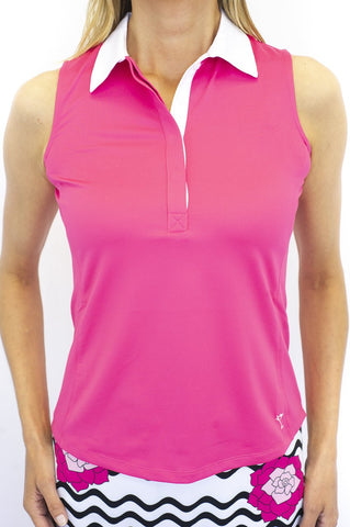 Golftini Contrast Colloar Sleeveless Polo SLT18 Pink