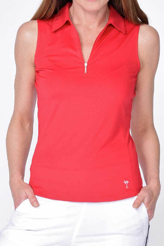 Golftini Sleeveless Zip Tech Polo SLZT18R Red