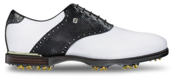 Foot Joy ICON Black Golf Shoes - White/Black Lizard 52007