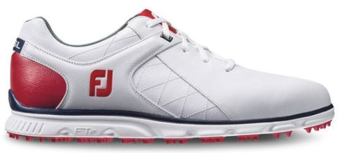 Foot Joy Pro/SL Spikeless Golf Shoes - White/Navy/Red 53243