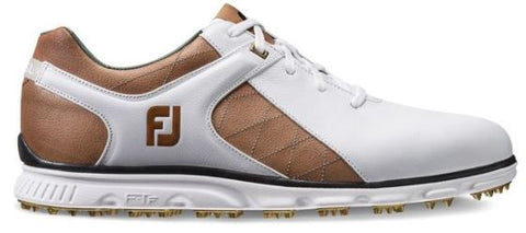 Foot Joy Pro/SL Spikeless Golf Shoes - White/Taupe/Gold 53219