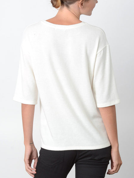 Annette Dropped Shoulder Top / Ivory
